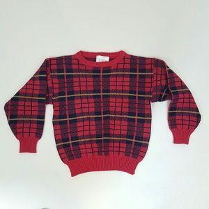 80s vintage pink plaid sweater Small acrylic vegan